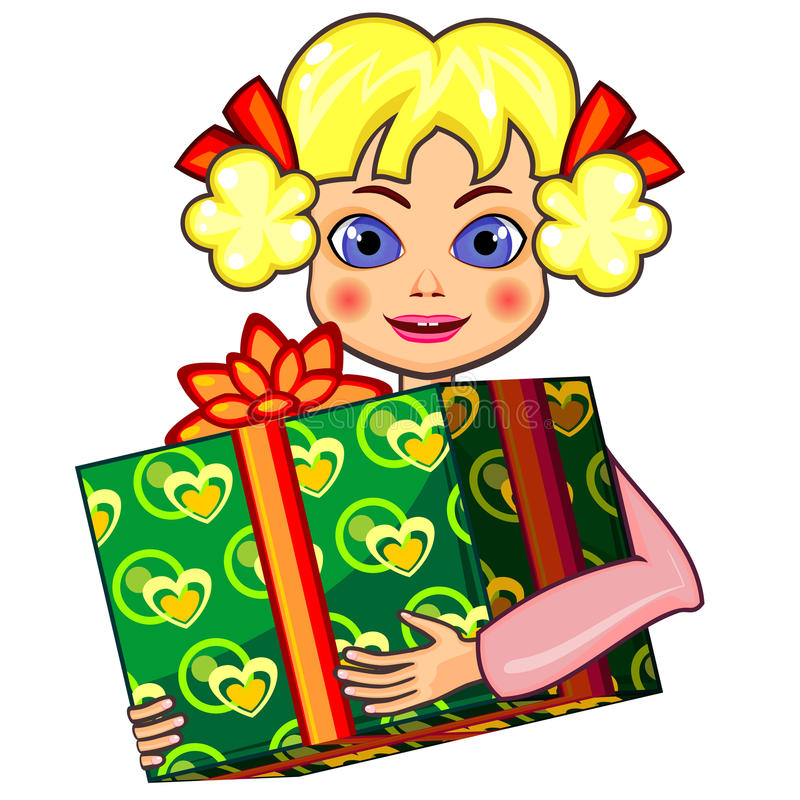 Little girl and gift. Girl with fair hair holding big wrapped gift box stock illustration