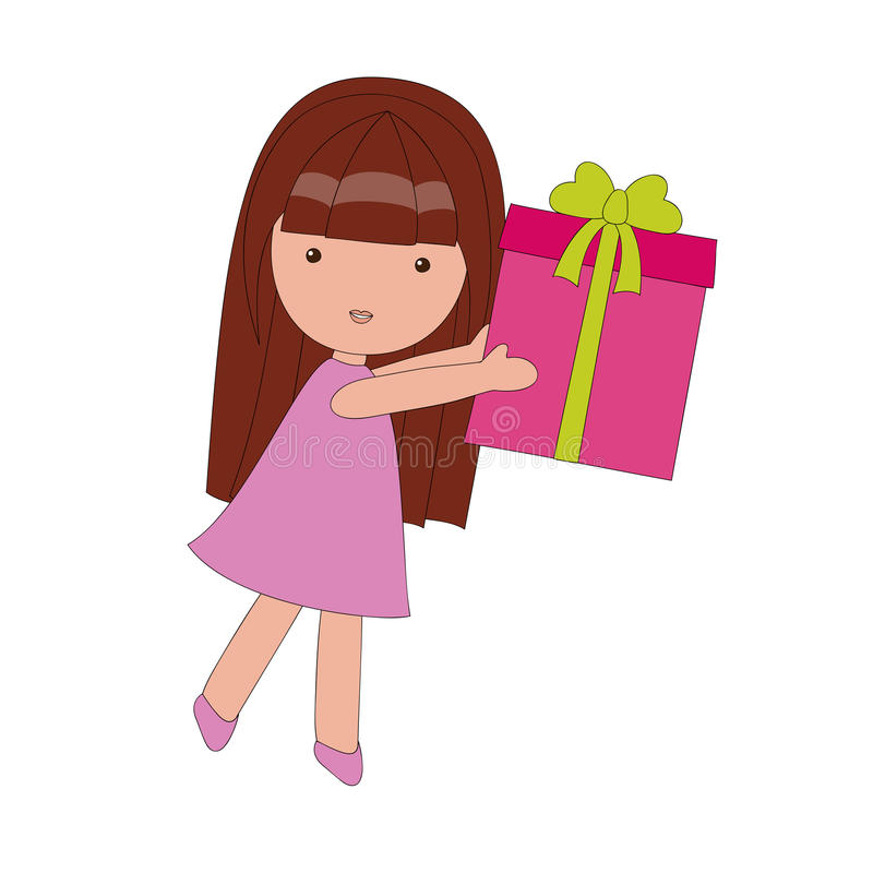 Little girl with a gift. Box, isolated on white vector illustration