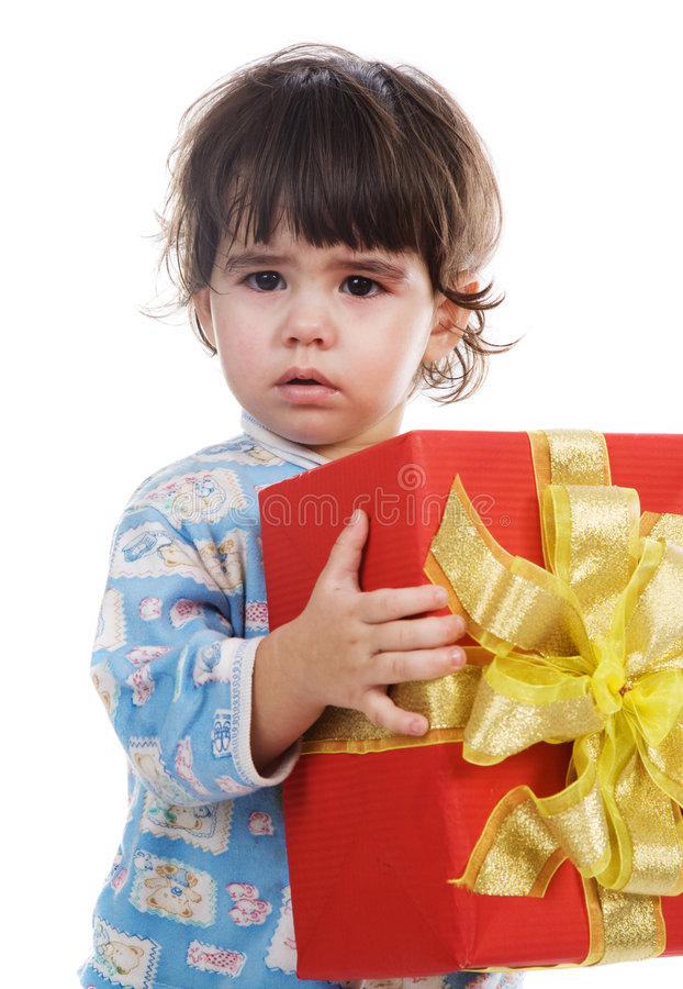 The little girl with a gift royalty free stock photography