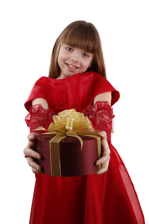 Little girl with gift. royalty free stock image