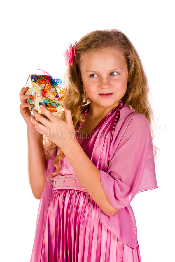 Download Little Girl With Gift Boxes Royalty Free Stock Images - Image: 24420039