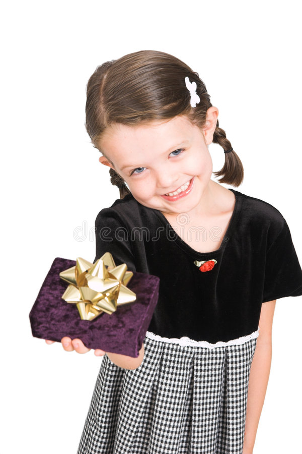 Little girl giving gift royalty free stock photos