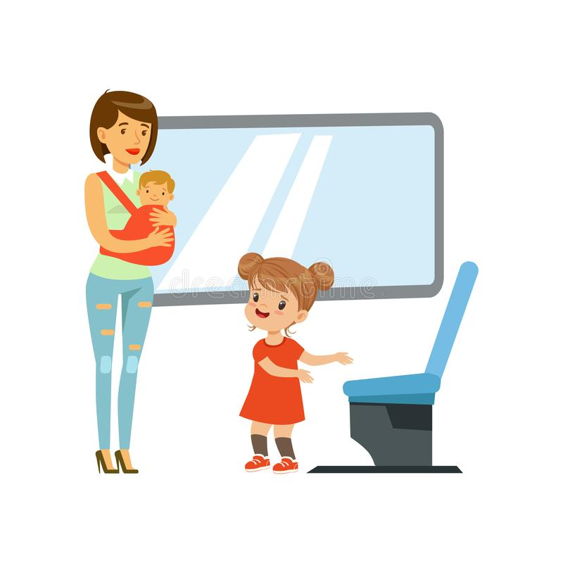 Little girl giving way to woman with baby in public transport, kids good manners concept vector Illustration on a white vector illustration