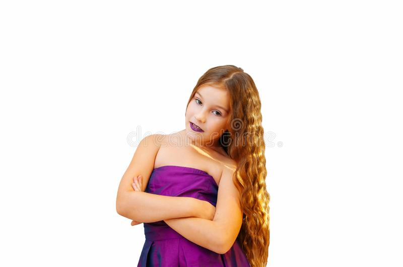 Little girl with glamor long hair, emotional portrait on a white. Background arms baby beauty blonde casual child childhood confident cute daughter day royalty free stock images