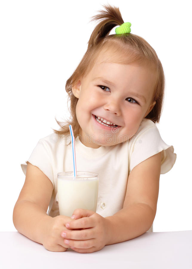 Download Little Girl With A Glass Of Milk Stock Image - Image: 17282251