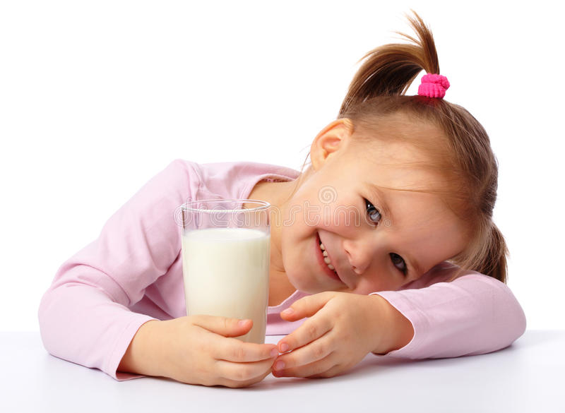 Download Little Girl With A Glass Of Milk Royalty Free Stock Image - Image: 18516006