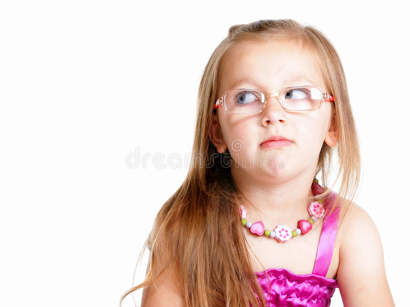 Little girl glasses sitting on floor isolated royalty free stock image