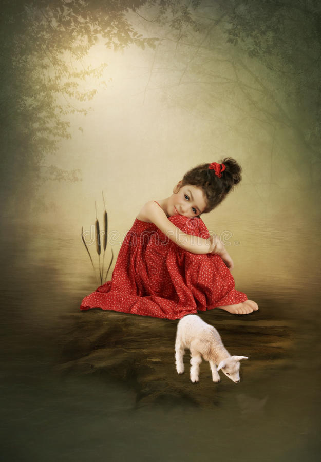 Little girl and goat. Little girl sitting on a stone on the river and little goat stock illustration