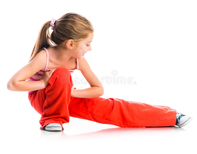 Little girl goes in for sports royalty free stock photography