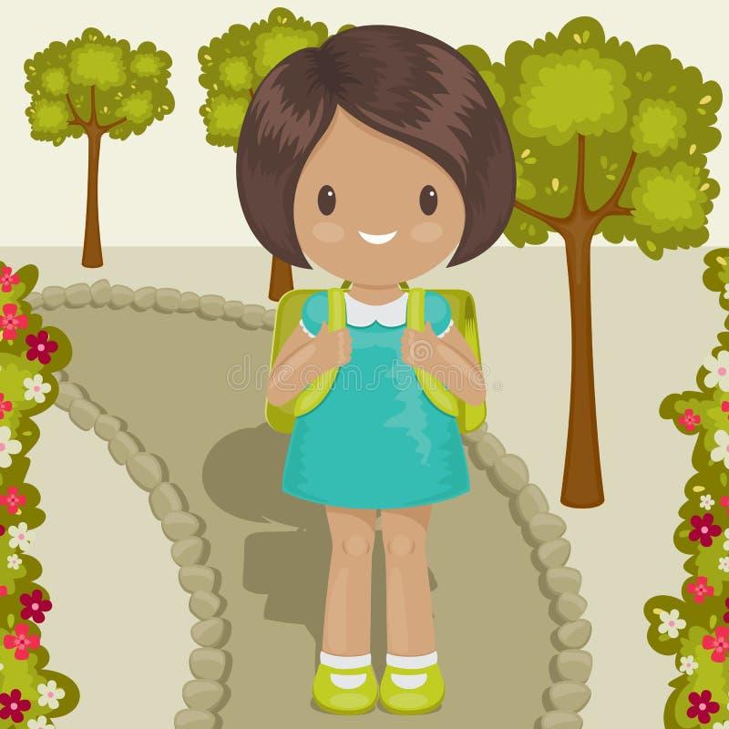 Little girl going to school. Little girl outside, going to school vector illustration