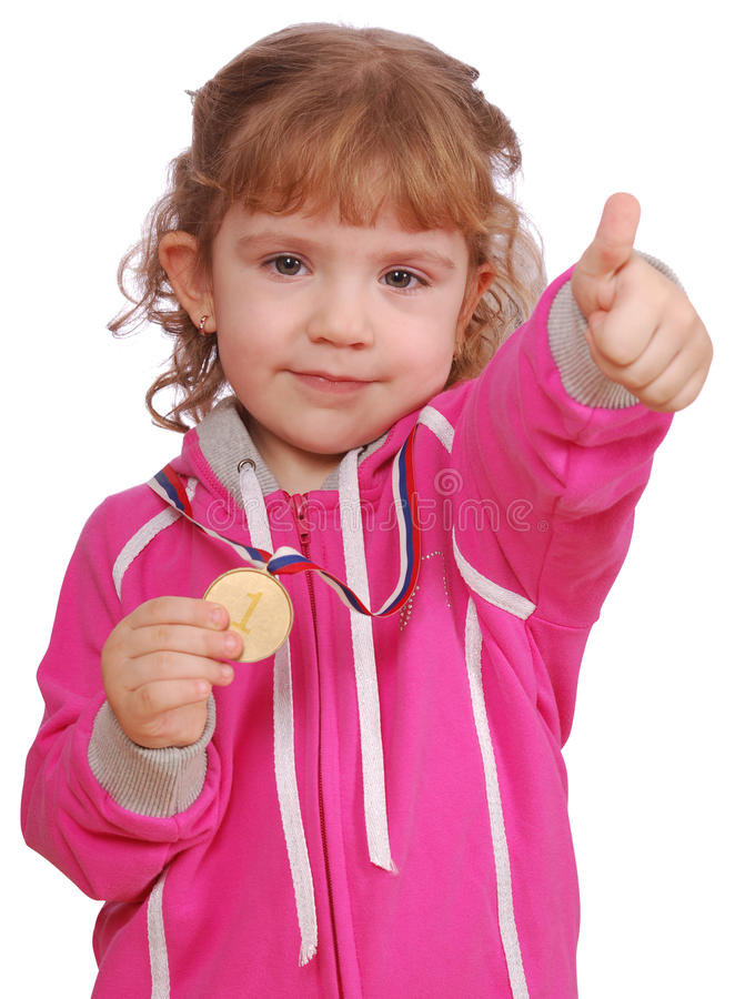 Download Little Girl With Golden Medal And Thumb Up Stock Image - Image of competition, pretty: 13280539