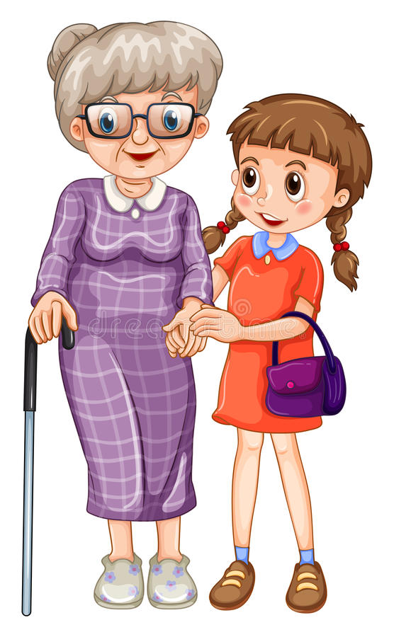 Little girl and grandmother vector illustration