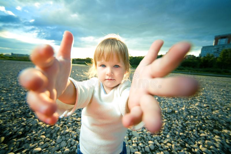 Little girl grief look stock photography