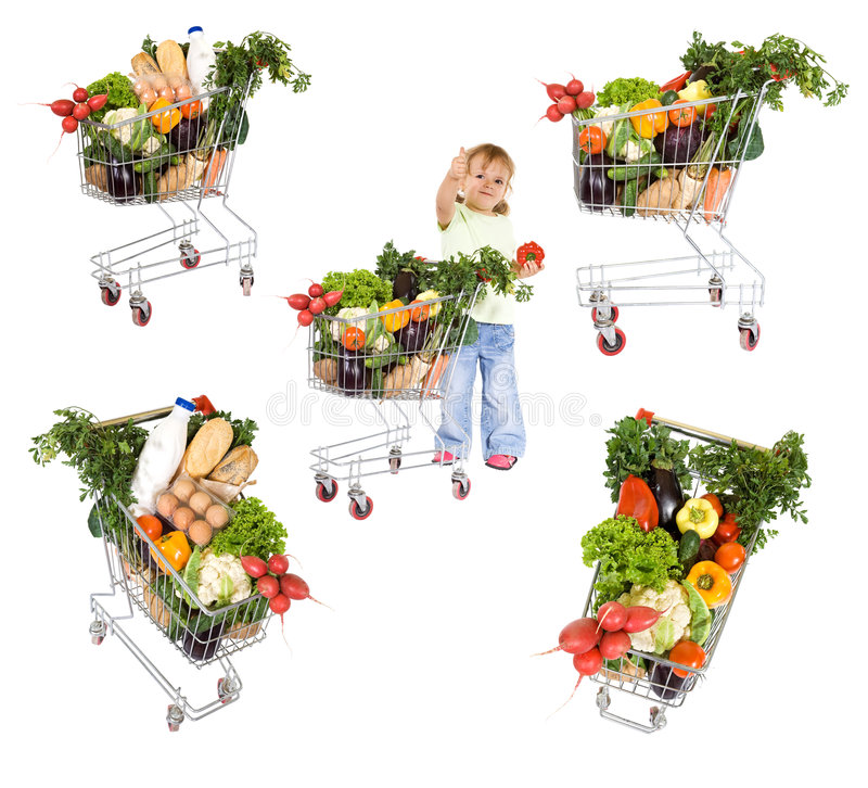 Download Little girl with groceries stock image. Image of childhood - 8469503