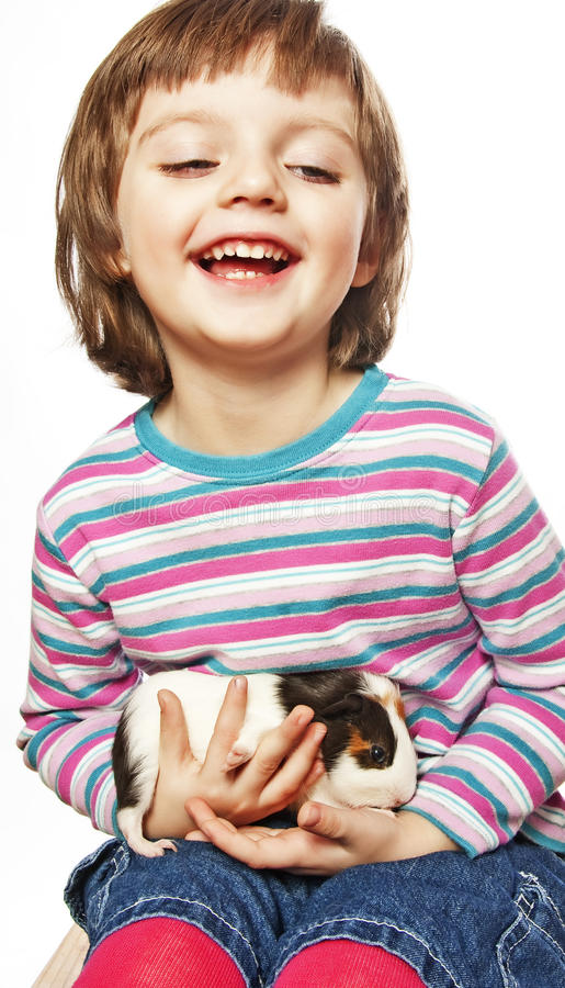 Download Little Girl  With Guinea Pig Stock Photo - Image: 17796676
