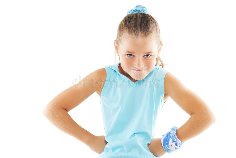 Little girl gym instructor. Little girl in role of gymnastics instructor royalty free stock photos