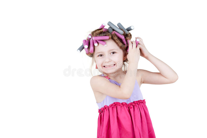 Download Little Girl With  Hair-curlers In Her Hair Stock Photo - Image of hairdresser, people: 28968942
