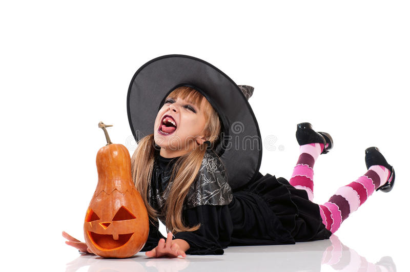 Little girl in halloween costume royalty free stock images