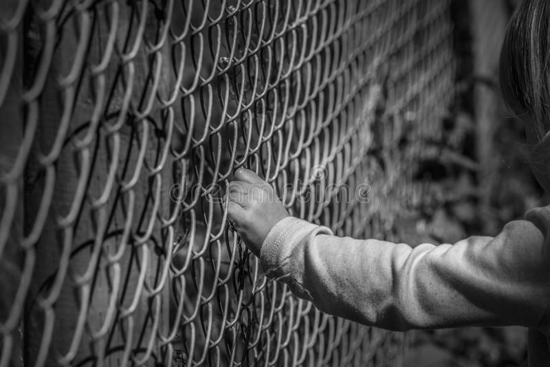 Little girl hand holding fence royalty free stock image