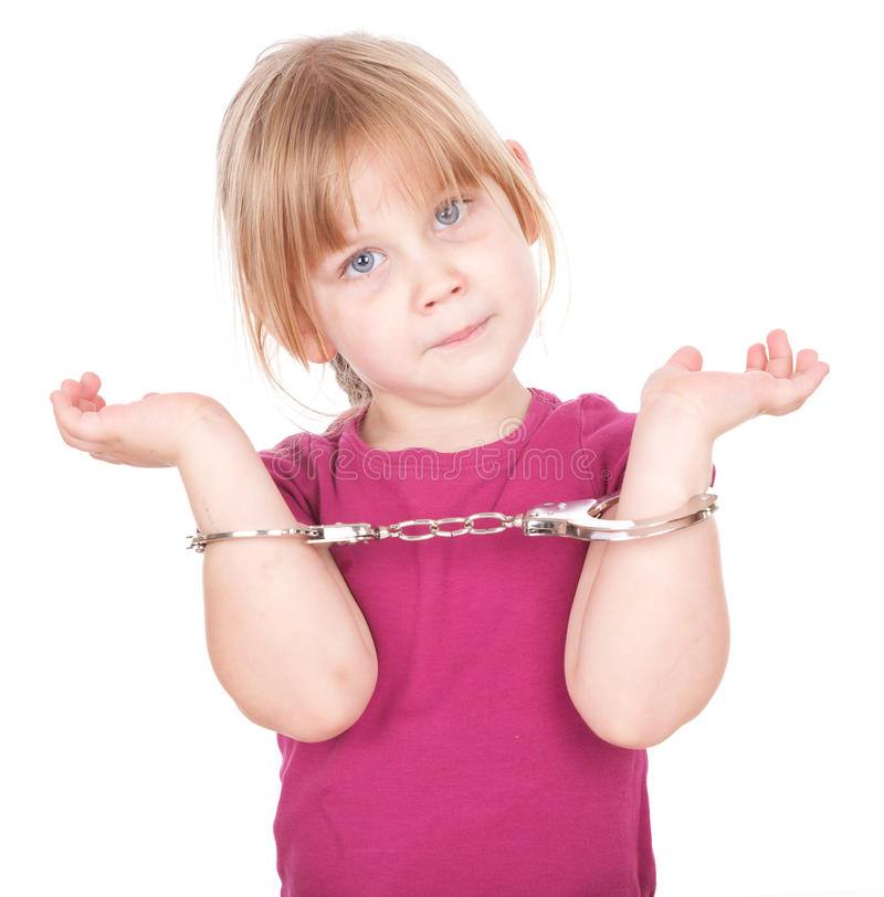 Download Little girl in handcuffs stock photo. Image of face, children - 21645942