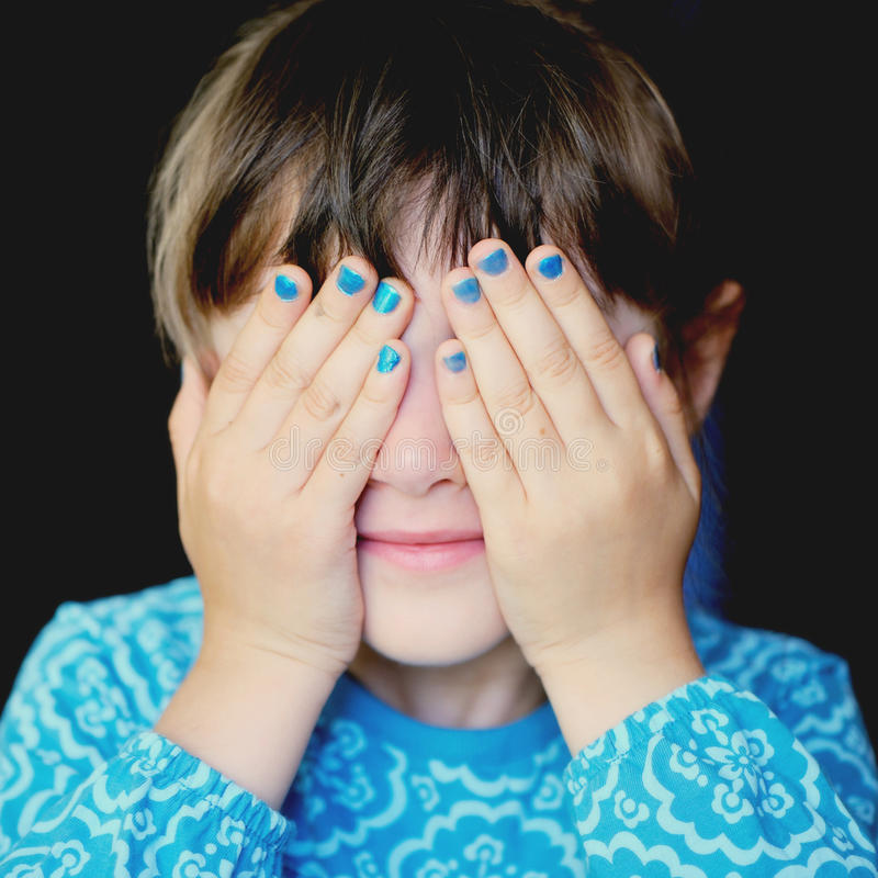Download Little Girl With Hands Covering Her Eyes Royalty Free Stock Photos - Image: 25660178