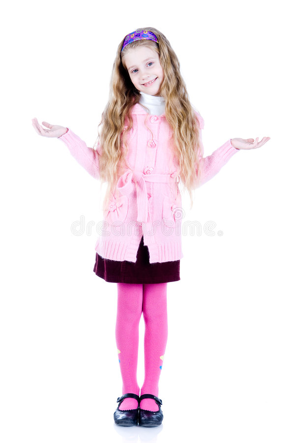 Little girl with hands up stock image