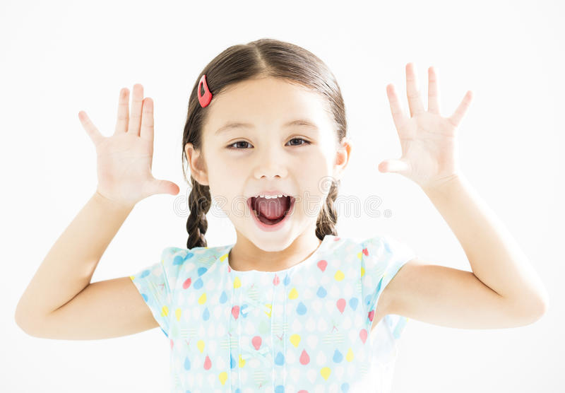 Little girl with hands up  royalty free stock images