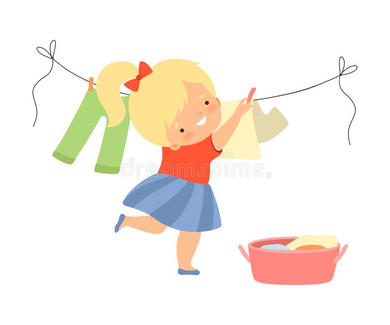 Little Girl Hanging Laundry on Clothes Line Vector Illustration royalty-vrije illustratie