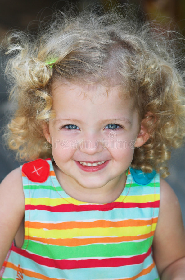 Little Girl Happy Smile Stock Image