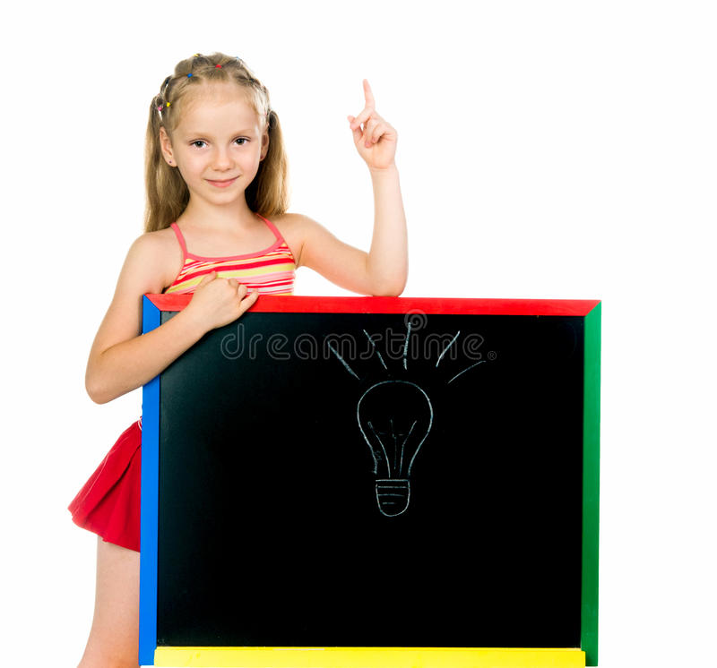 Download Little girl has an idea stock photo. Image of school - 27531346