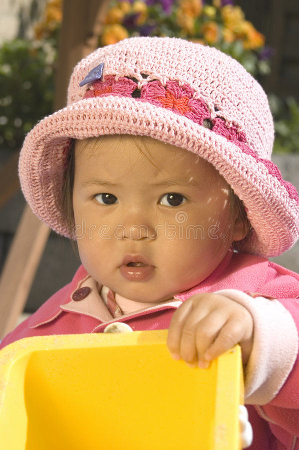 Little girl with hat stock photos