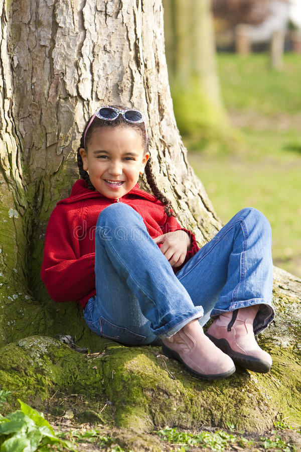 Download Little Girl Having Fun stock photo. Image of mixed, nature - 9271356