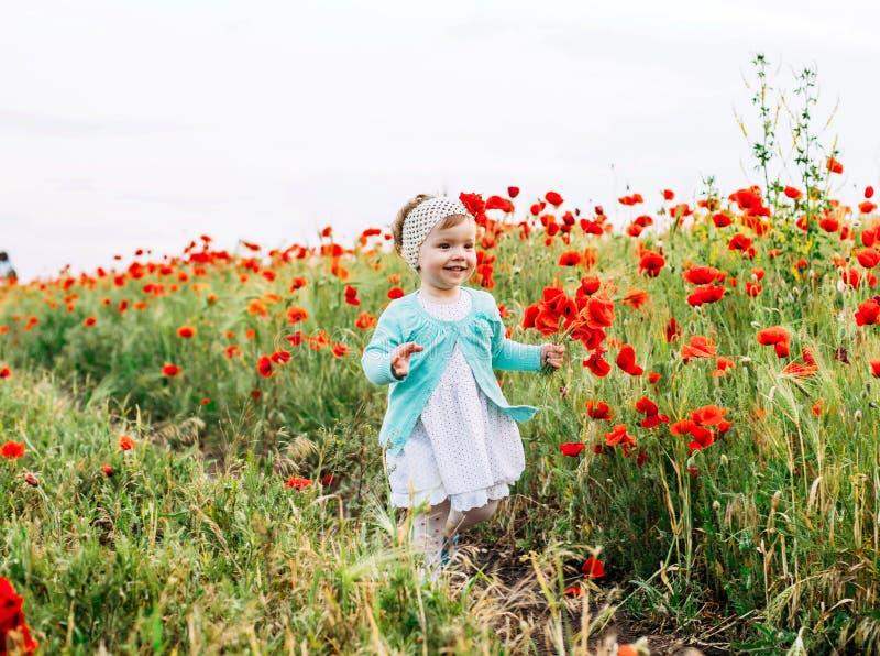 Little girl having fun in poppy field royalty free stock image