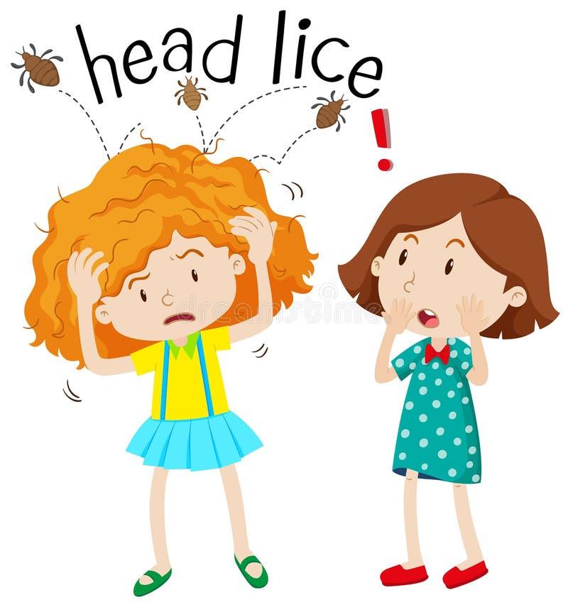 Little girl having head lice stock illustration