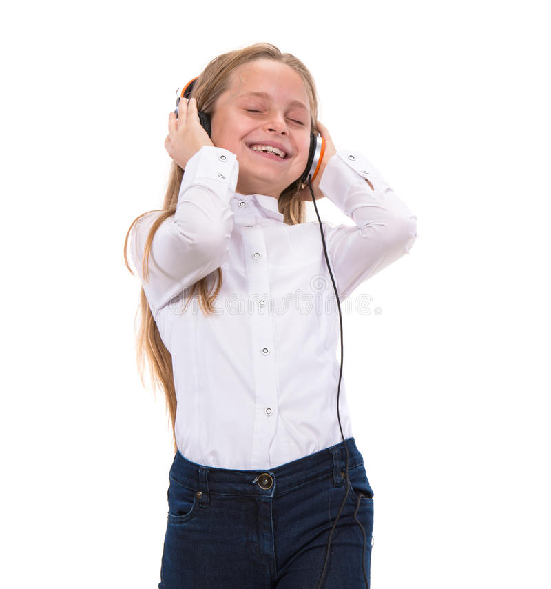 Download Little Girl In Headphones Listening To Music Royalty Free Stock Image - Image: 35269036
