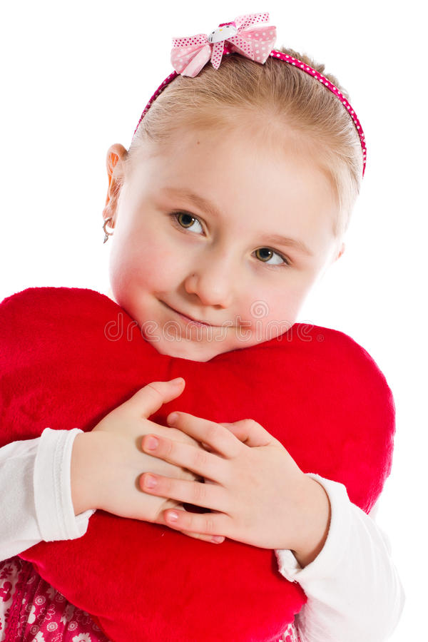 Little girl with heart stock images