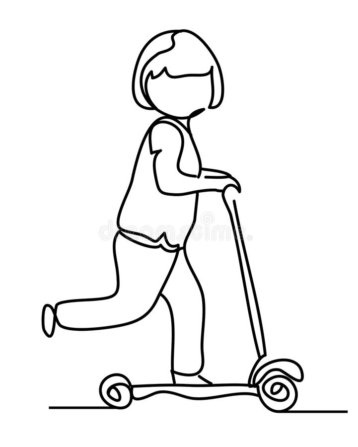 Little girl in helmet riding a kick-scooter. Vector monochrome, drawing by lines. Continuous line drawing. People in the. Park stock illustration