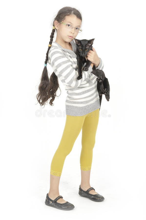 Download Little Girl With Her Black Cat Stock Photo - Image of little, children: 11316152