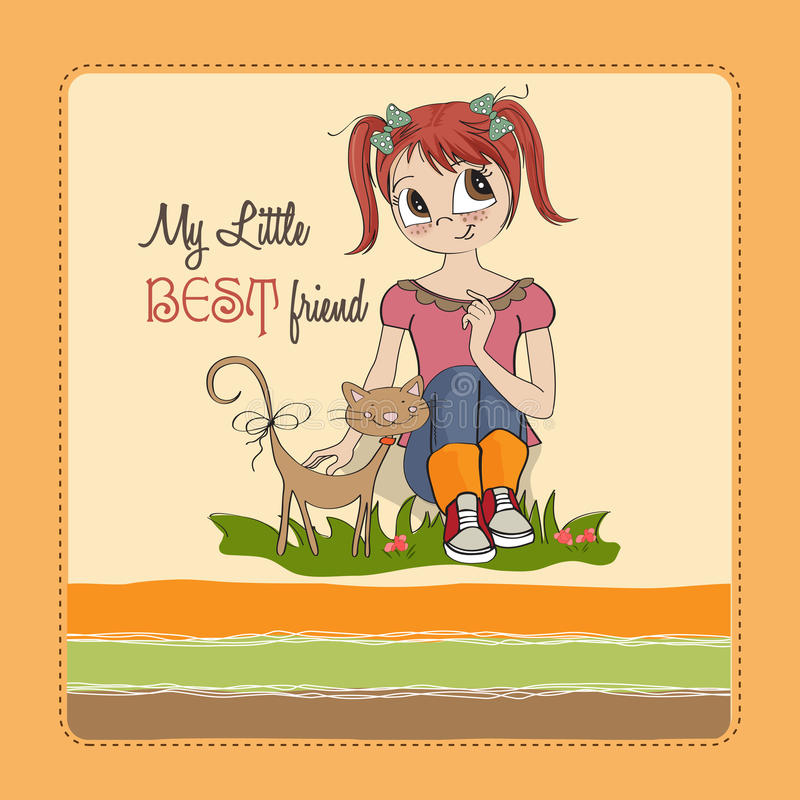 Download Little girl and her cat stock illustration. Image of happy - 27048121