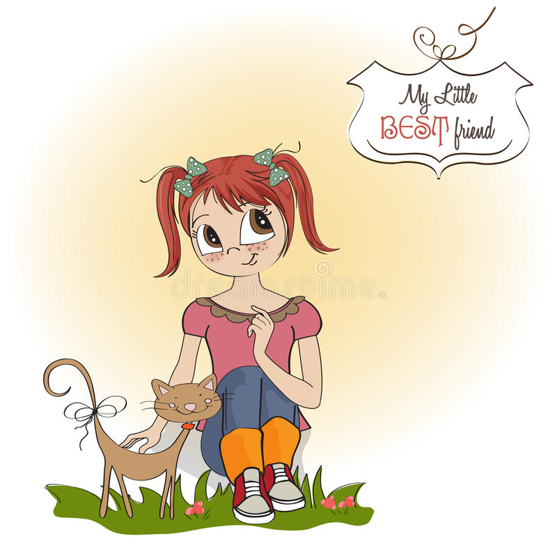 Download Little girl and her cat stock illustration. Illustration of excited - 27048122