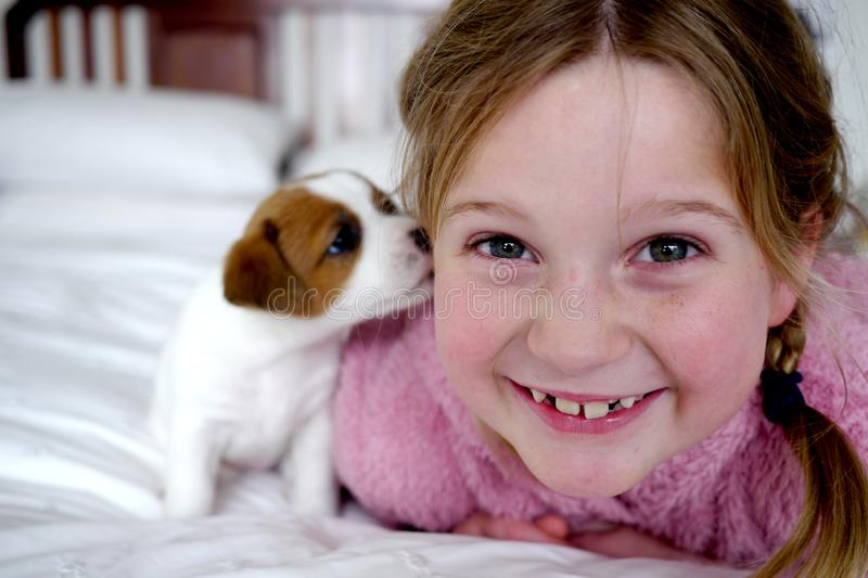 Little girl and her cute puppy on a white bed royalty free stock image