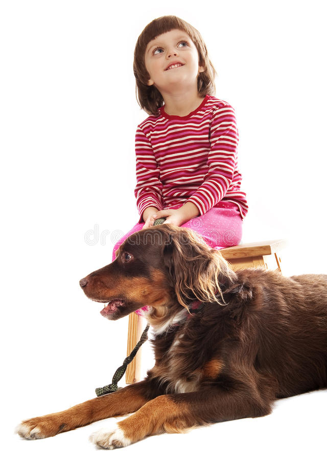 Download Little girl and her dog stock photo. Image of adorable - 17338404
