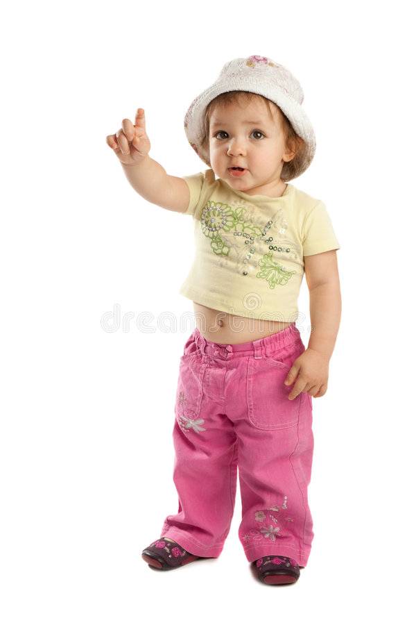 Little girl with her forefinger up royalty free stock photography