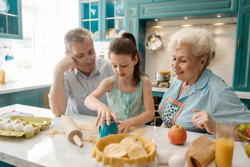Little girl and her grandparents royalty free stock photography