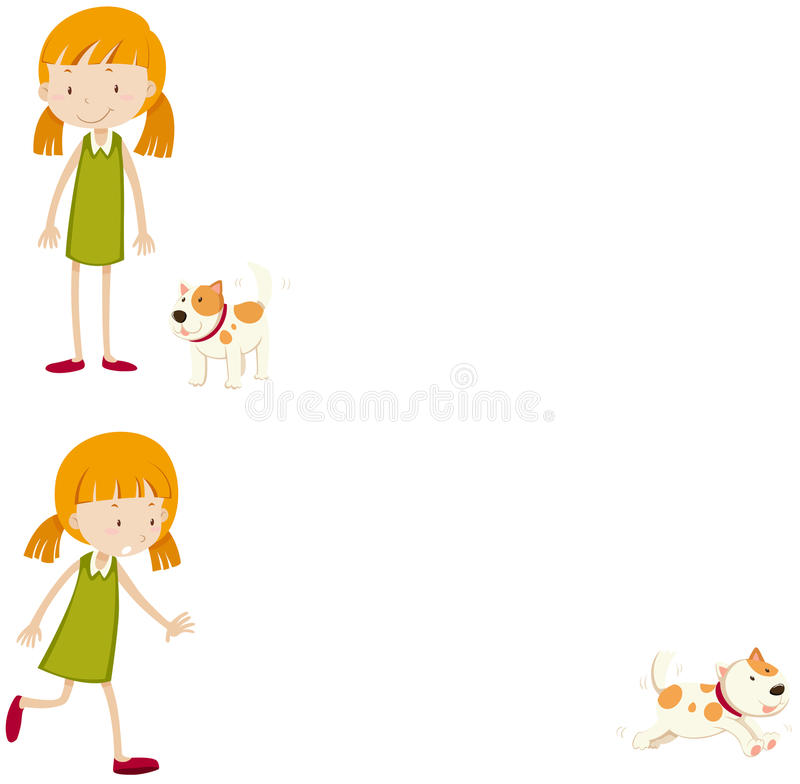 Little girl with her pet dog vector illustration
