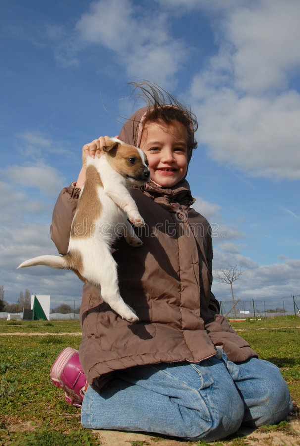 Little girl and her puppy. Little girl and her young puppy purebred jack russel terrier royalty free stock photography