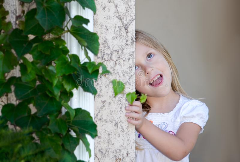 Girl making a goofy face royalty free stock photography