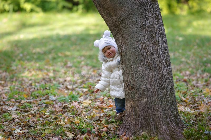 Little girl is hiding behind a tree on a background of green foliage park stock photos