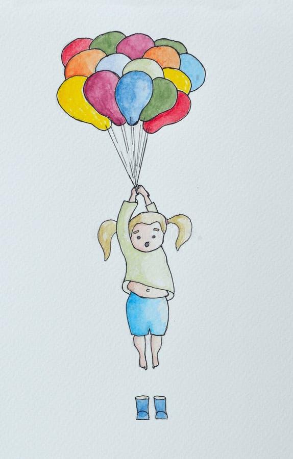 Little girl holding onto balloons royalty free illustration