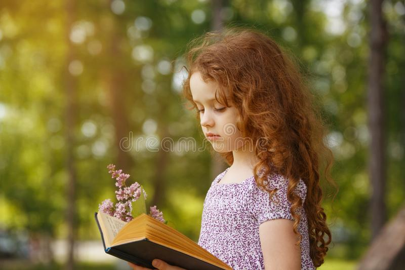 Little girl reading a book in spring park. Little Girl hold bouquet of lilacs and reading the book in spring park . Retro portrait cute child in country style stock photos